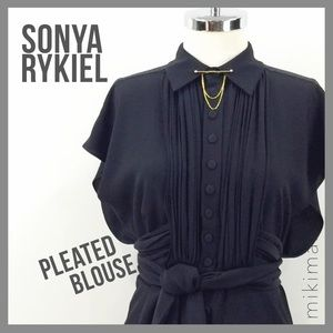 Sonia Rykiel Tops - SONIA RYKIEL • silk pleated blouse with tie