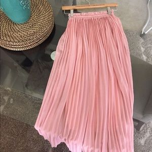 Baby Pink Chiffon Pleated Maxi Skirt