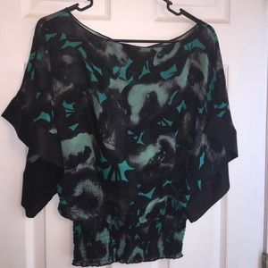 Black and teal express dolman crop top sz xs