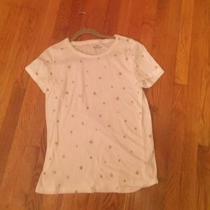 White and gold J Crew tee