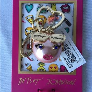 Betsey Johnson Accessories - Betsey Johnson Pink Emoji Keychain