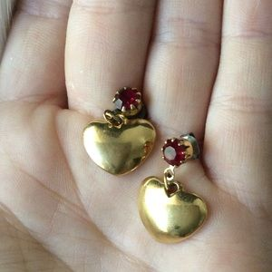 Vintage Red Ruby Stone Golden Drop Hearts Romantic