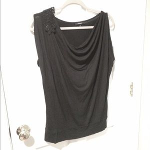 Black cowl-necked sleeveless top from Express