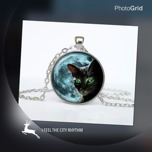 Jewelry - Vintage cat cabochon Tibetan silver glass necklace