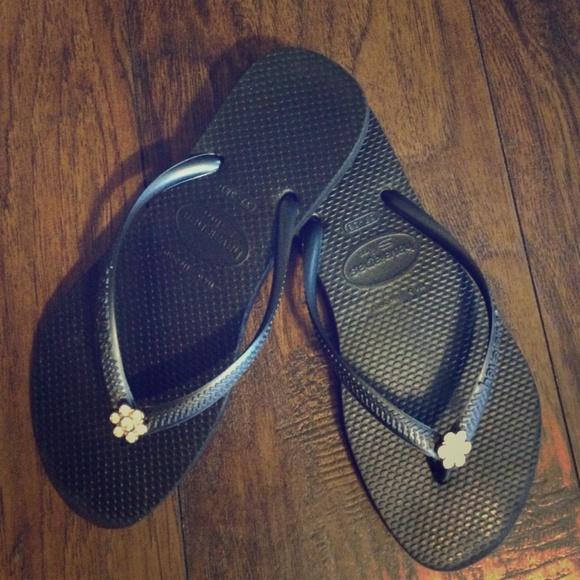 120ea810a7361b Havaianas Shoes - Black Havaianas with gold rhinestone flower