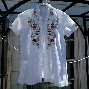3b98e0ab Lily Tops | Vintage Hand Embroidered Chinese Buttondown Blouse ...