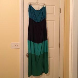 Gap Factory Dresses & Skirts - GAP Factory Color Block maxi, strapless dress