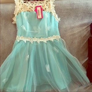 Aqua dress with butterfly and lace detail Sz L.