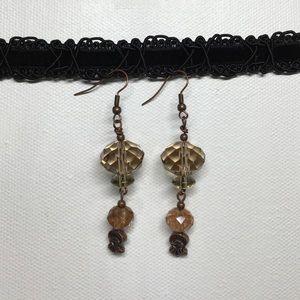 Jewelry - Glass & crystal bead earrings
