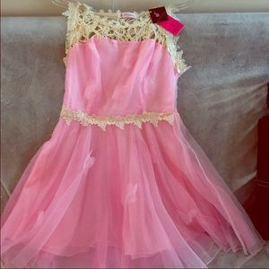 Pink dress with butterfly and lace detail Sz L.
