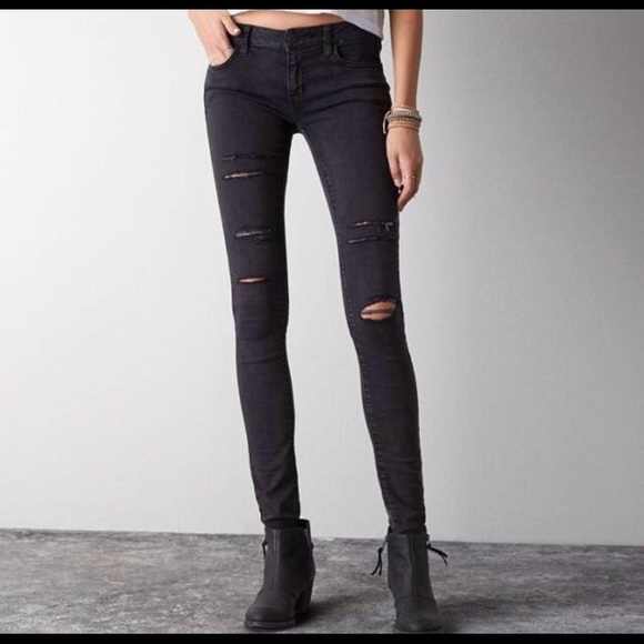 76e25a7b2ae American Eagle Outfitters Denim - Distressed Black Jeggings Long Length
