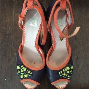 Missoni Shoes - M Missoni purple & orange leather raffia wedges!