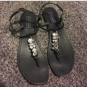 Topshop ankle strap sandals crystals pace up