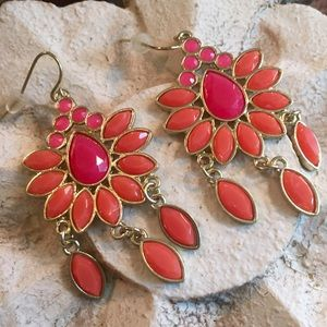 Jewelry - Coral and Fuschia chandelier earrings