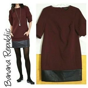 Banana Republic Dresses & Skirts - BR burgundy faux leather color block dress 4 tall