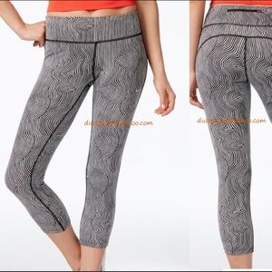Nike Pants - Nike Zen Epic Run Crop Leggings Black White Capris