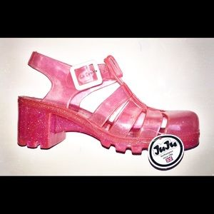 Juju Shoes - Womens juju babe pink size 5 pink mid heel buckle