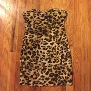 Forever 21 Leopard Strapless Mini Dress