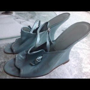 Sigerson Morrison Shoes - Sigerson Morrison metallic wedge heels size 10