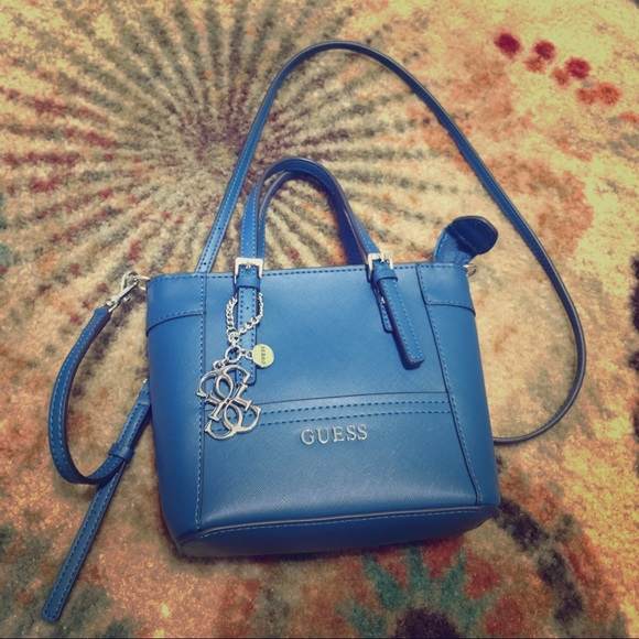 Guess Handbags - Guess Delaney blue mini petite tote 990000fa7dd99