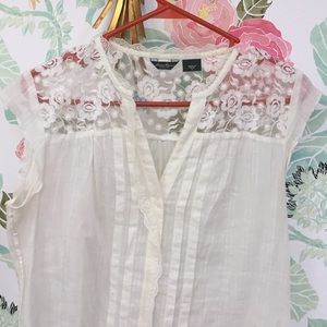 Eddie Bauer Tops - White button down with lace