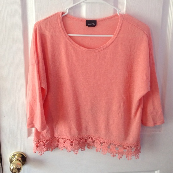 Rue 21 Salmon Colored Shirt With Lace Crochet From Megan