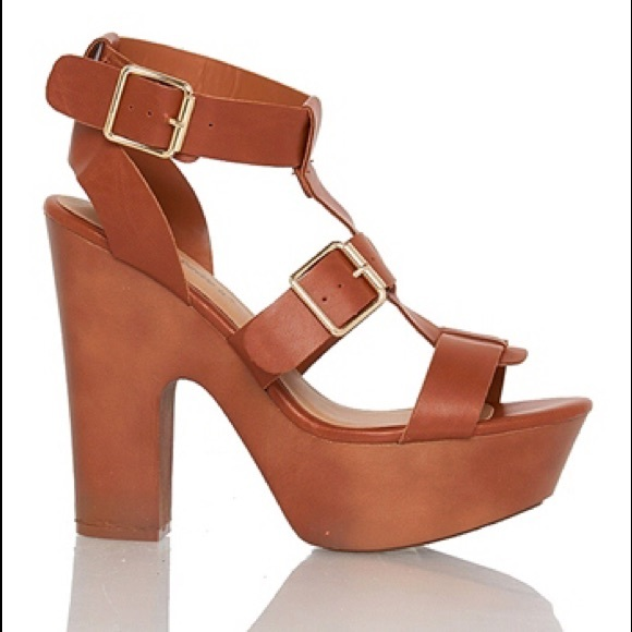 29% off Breckelles Shoes - *SOLD*Gladiator tan strappy platform ...