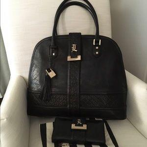 L.A.M.B.  Lucca Bowler handbag and wallet