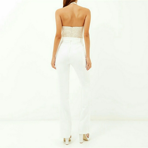 River Island Pants White And Gold Jumpsuit Poshmark
