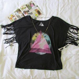Seneca Rising Tops - Pacsun Black Fringe Tshirt