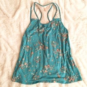 Xhilaration Tops - Turquoise and Peach Flower Tank Top w Lace Straps