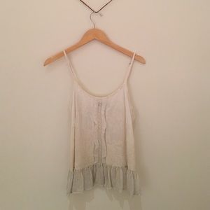 Gypsy Embroidered Cream Tank Top