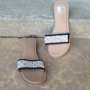 NWT BC Flat Slide On Checkered Gem Sandals Size 8