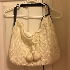 White knitted bath and body purse