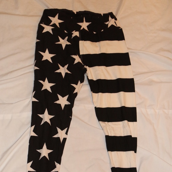 2de5fe999fb0e LuLaRoe Pants | Black And White Os Flag Leggings | Poshmark