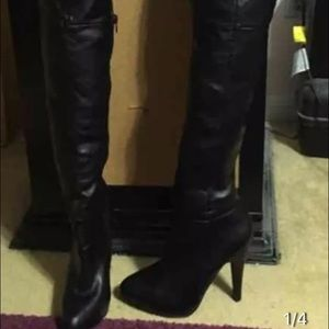 50 aldo shoes black leather thigh high boots from