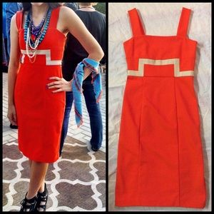DIANE VON FURSTENBERG DVF Orange Sheath Dress