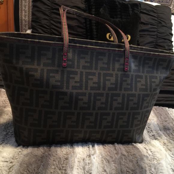 FENDI Bags   Final Price Drop Authentic Zucca Roll Tote   Poshmark 3eb2919b0d