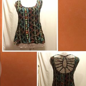 Eyeshadow Tops - Colorful Aztec top with open back NWT