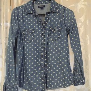 Old Navy Polka Dot Chambray Button Up