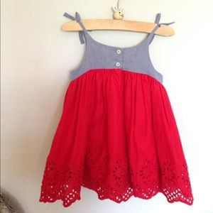 88957e77c0a Baby GAP Dresses - Baby GAP Chambray and Red Eyelet Dress! 🇺🇸🎆🎉