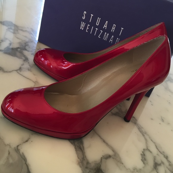 b4d5bd23a Stuart Weitzman Shoes | Red Round Toe Pumps | Poshmark