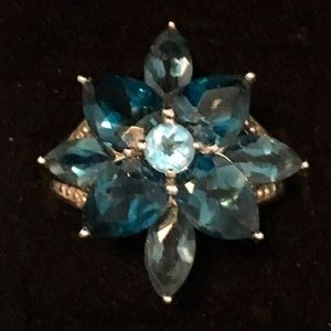 Jewelry - London Blue Topaz Sterling Flower Ring 7