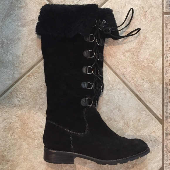 Sofft Shoes | Black Suede Lace Up Boots With Shearling By