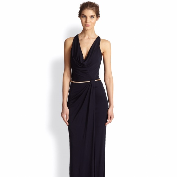 David Meister Dresses   Sale Nwt Navy Cowl Front Gown   Poshmark