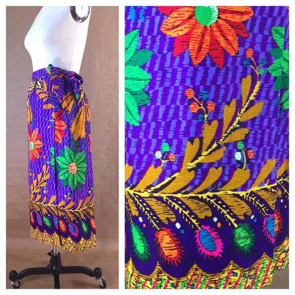 f3cae8334c Vintage Skirts   Hawaiian Floral Print Sarong Wrap Skirt   Poshmark