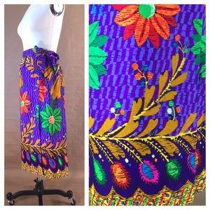 Vintage Hawaiian Floral Print Sarong Wrap Skirt