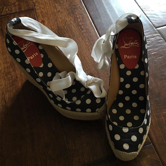 39242b8bd166 Christian Louboutin Shoes   Navy White Polka Dot Louboutin Wedges ...