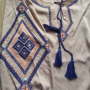 Moon Collection Tops - Elbow Length Embroidered Blouse with Tassel Ties