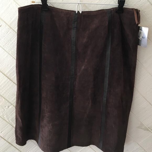 alfani alfani brown leather suede skirt brand new size